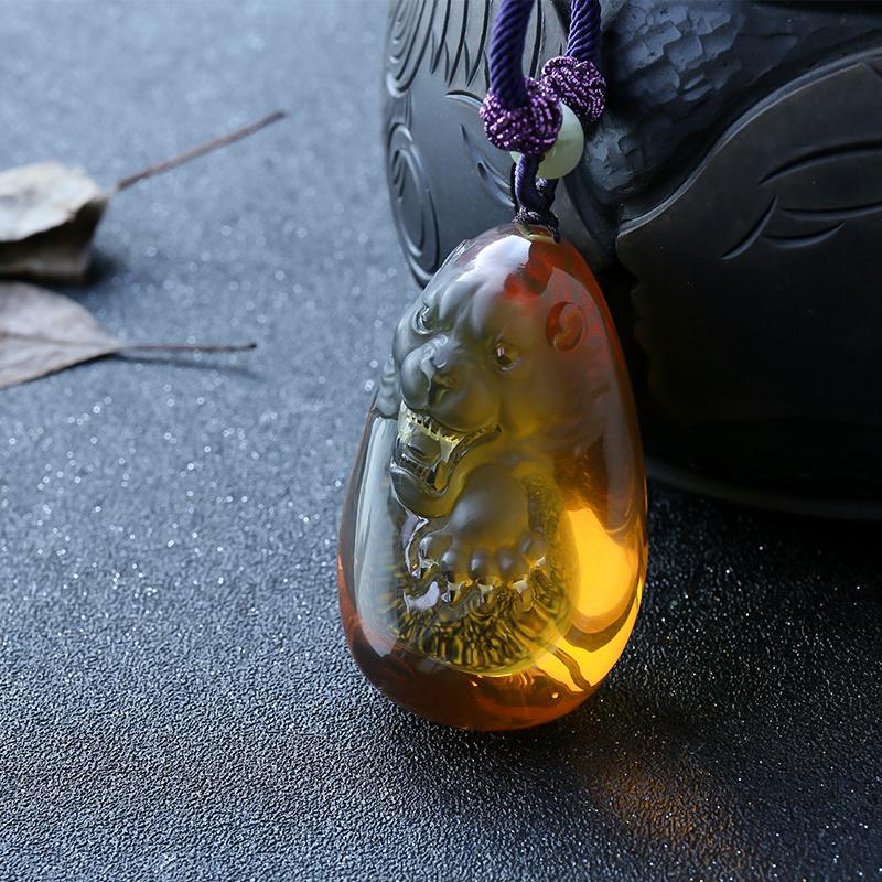 緬甸金藍珀掛件—虎