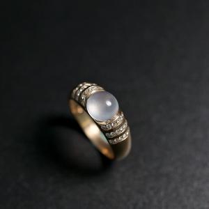 18k金玻璃種翡翠戒指