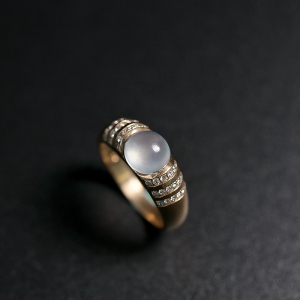 18k金玻璃种翡翠戒指