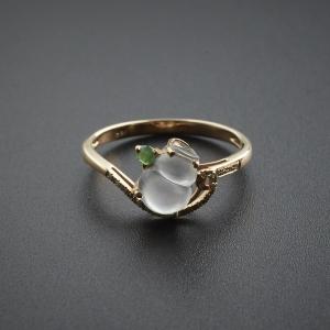 18K金镶钻玻璃种翡翠葫芦戒指
