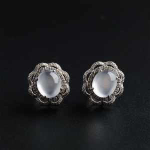 18K金鑲鉆玻璃種翡翠耳釘