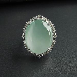 18K金冰糯种晴水翡翠戒指
