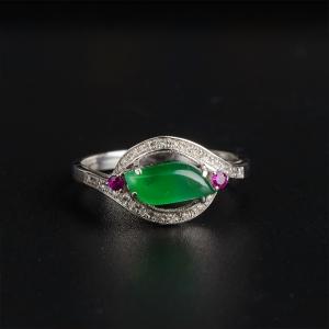 18K金鑲鉆老玻璃種晴水翡翠隨形戒指