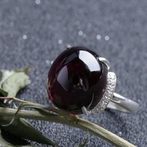 銀鑲紫牙烏戒指