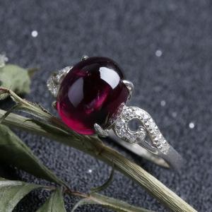 银镶紫牙乌戒指