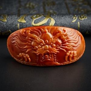 柿子红满肉南红龙镯牌
