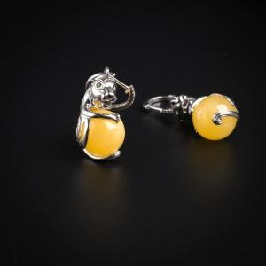 银镶蜜蜡创意小青龙耳环
