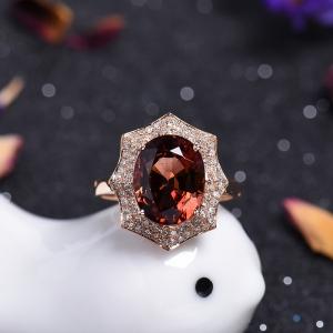 18K金鑲鉆碧璽戒指