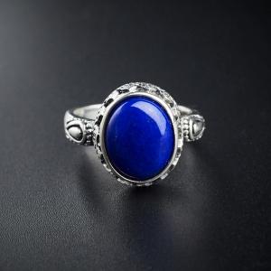 银镶青金石戒指