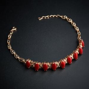 18K金镶钻红珊瑚手链