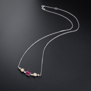 18K金镶钻红宝石项链