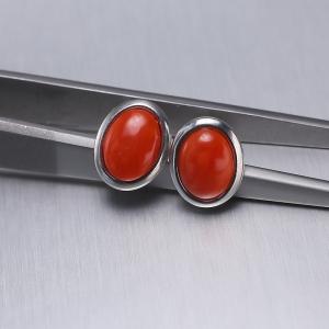 银镶椭圆红珊瑚耳钉