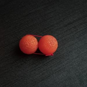 柿子红南红回文圆球一对
