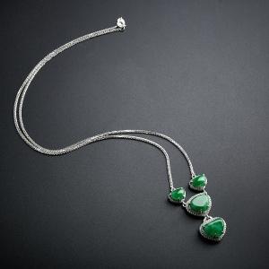 18K金鑲鉆冰糯種花綠翡翠項鏈