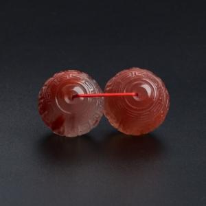 冰飘南红回纹对珠