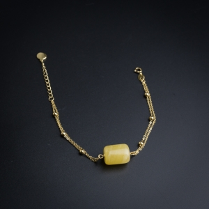 银镶鸡油黄蜜蜡手链