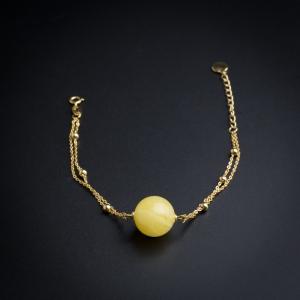 银镶满蜜蜜蜡圆珠手链