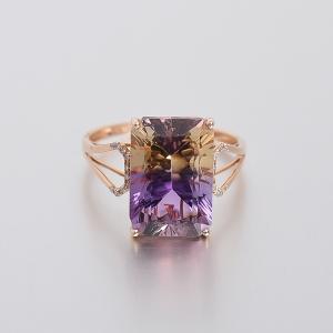 18K金镶钻紫黄晶戒指