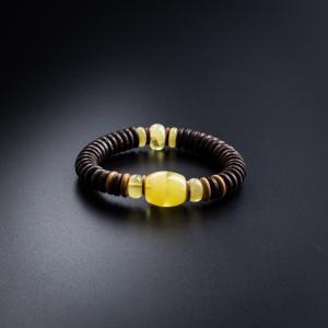 蜜蜡椰壳桶珠手链