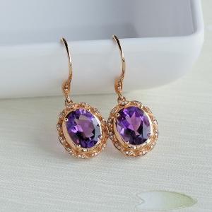 18K金镶钻紫水晶耳坠