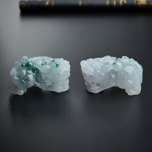冰糯種飄藍花翡翠貔貅吊墜一對