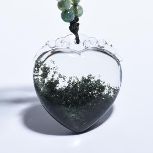 绿幽灵心形水晶吊坠