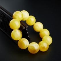 22.5mm鸡油黄蜜蜡手串