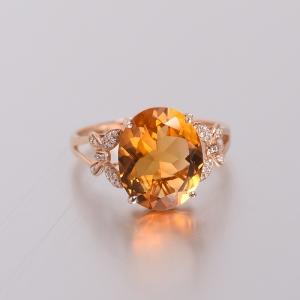 18K金镶钻黄水晶戒指
