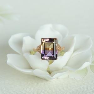 18K金镶钻紫黄水晶戒指
