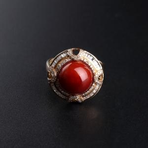 18K金镶钻阿卡牛血红珊瑚戒指