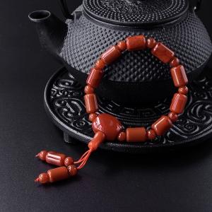 柿子红南红桶珠手串