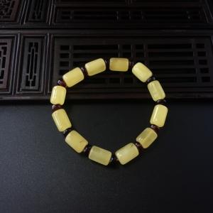 满黄蜜蜡桶珠手串