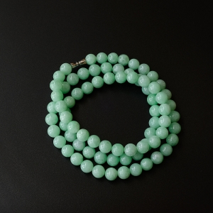9mm糯种苹果绿翡翠佛珠项链