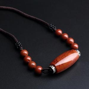 柿子红南红桶珠项链