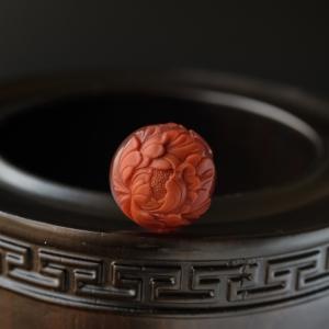 冻料柿子红南红凤朝牡丹圆珠