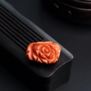 MOMO紅珊瑚玫瑰花吊墜