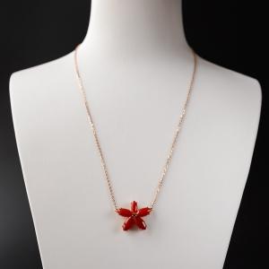 18K金鑲鉆阿卡牛血紅珊瑚花項鏈