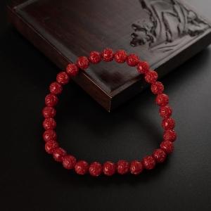 5.5mm沙丁红珊瑚龙珠手串