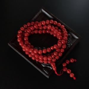 6mm沙丁红珊瑚龙珠项链