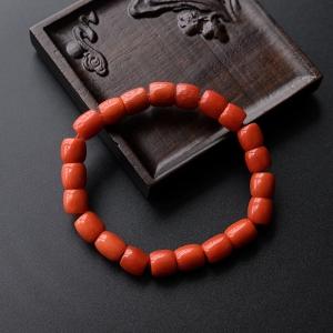 沙丁珊瑚桶珠手链