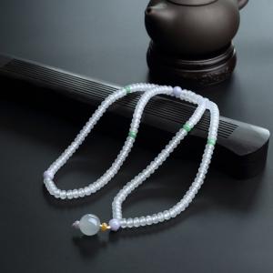 冰糯种浅绿算盘珠翡翠项链