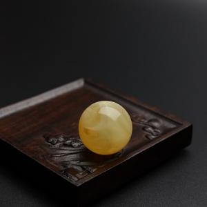 22.7mm满蜜鸡油黄蜜蜡圆珠