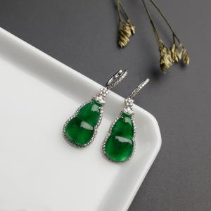 18K金鑲糯種陽綠翡翠葫蘆耳環