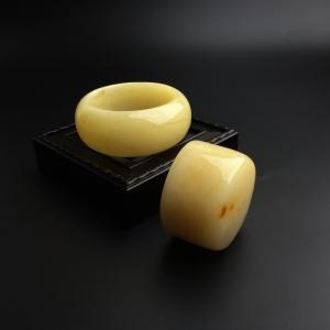 57#檸檬黃蜜蠟手鐲套裝