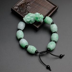糯种飘绿翡翠貔貅桶珠手串