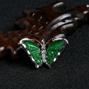18K金鑲糯種滿綠翡翠蝴蝶吊墜