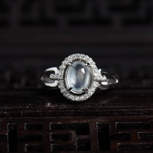銀鑲玻璃種翡翠戒指