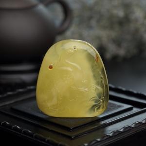 金包蜜柠檬黄蜜蜡仙鹤吊坠