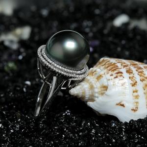 18K金鑲鉆珍珠戒指
