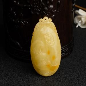 满蜜鸡油黄蜜蜡福在眼前吊坠